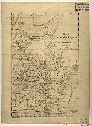Vintage 1873 Map of Tide-water Virginia Region, Tidewater, United States, Virginia (Map Of The Tidewater Region Of Virginia)