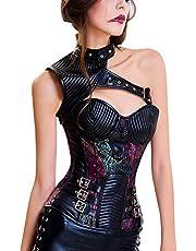 FeelinGirl Dames steampunk korset met stalen stokjes brokaatpatroon volledig borstkorset met jas en riem korset Halloween Gothic