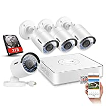 ANNKE Full-HD Video Security System (4) Weatherproof IP67 Bullet Cameras, 1080 IP POE NVR with 2TB Storage, 100ft IR LED Night Vision, Smartphone View