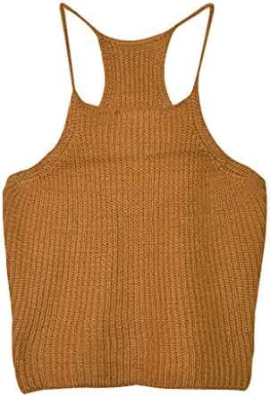 Aphratti Women's Sleeveless Strap Style Crochet Crop Top Shirt