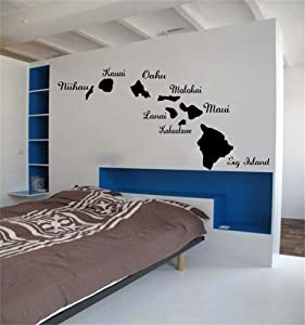 Guduis Wall Sticker Removable Vinyl Mural Decal Quotes Art Amazing Hawaiian Islands Wall Sticker Creative Hawaii Map for Home and Car Decoration