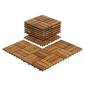 Bare Decor BARE-WF2009 Solid Teak Wood Interlocking Flooring Tiles (Pack of 10), 12″ x 12″, Brown