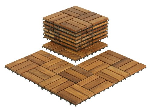 (Bare Decor BARE-WF2009 Solid Teak Wood Interlocking Flooring Tiles (Pack of 10), 12