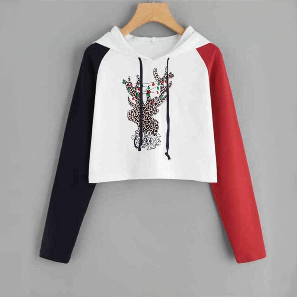 ZOMUSAR Christmas Women Long Sleeve Letter Printing Hooded Sweater Casual Blouse Tops