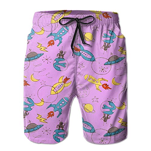 Boys Piled Kids Doodle Rockets UFOs Fashion Quick Dry Beach Shorts Cargo (Ufo Cargo Suit)