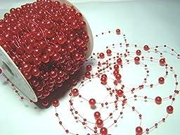 60-meter-roll Bead Garland 3/8 Mm Pearls :Red