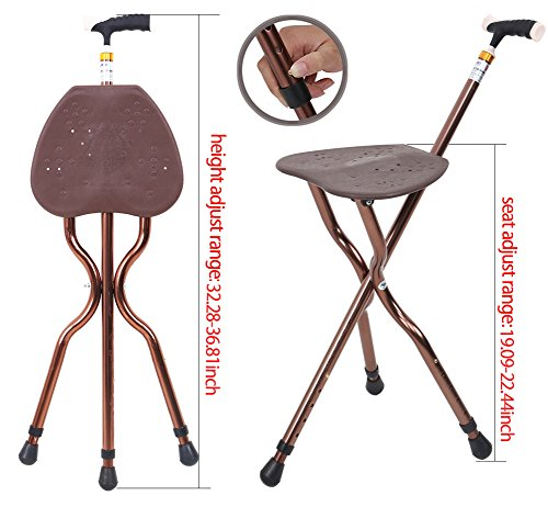 Best Health Cane Seat Stool Retractable Lightweight Walking Stick with LED Light for Elderly Outdoor Travel Rest Stool Folding Chair Replacement Large Golf Seat Large Weight Capacity (brown cane seat) by BSROZKI (Image #1)