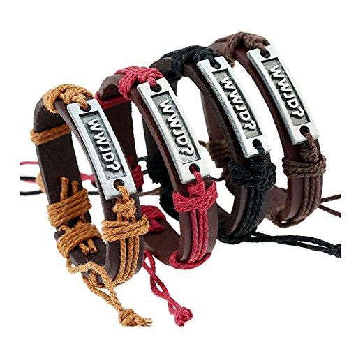 WWJD What Would Jesus Do Adjustable Leather Bracelet for Kids, Men and Women (Black)