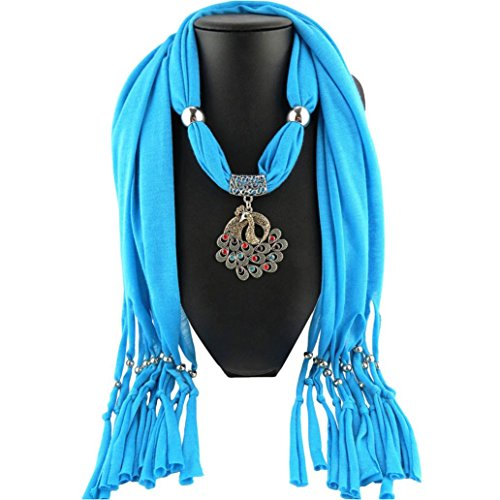 TONSEE Elegant Charm Peacock Pendant Jewelry Necklace Scarf for Women (Blue)