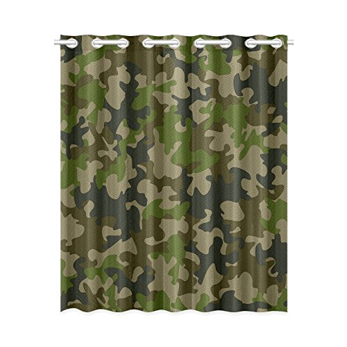 Blackout Window Curtains Green Camouflage Pattern Room Bedroom Kitchen Home Living Solid Grommet Window Drapes Curtains 52x63 inch (Drapes Camouflage)