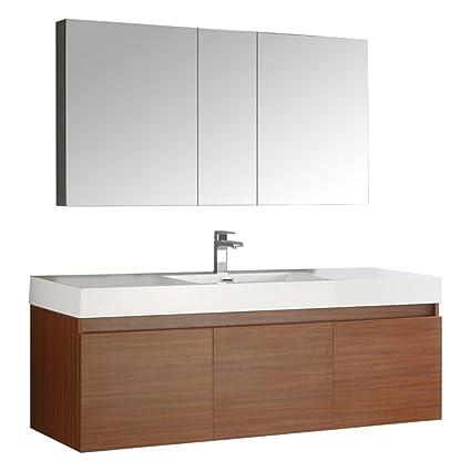 Fresca Mezzo 60u0026quot; Teak Wall Hung Single Sink Modern Bathroom Vanity  With Medicine Cabinet