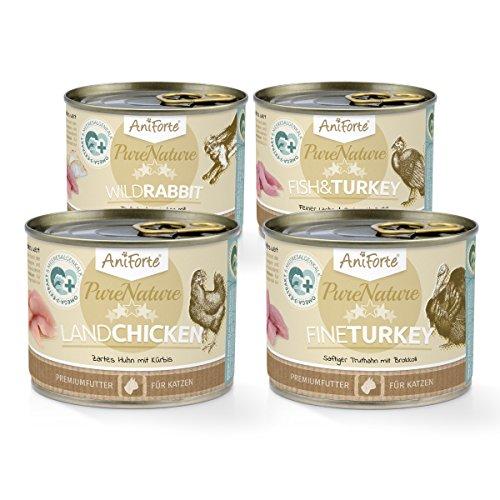 AniForte® PureNature Probierpaket 4x200g Nassfutter für Katzen Katzenfutter- Naturprodukt für Katzen