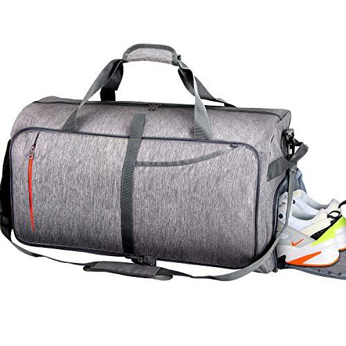 Reisetasche Große Sporttasche mit Schuhfach, BESTKEE Faltbare Reisegepäck Wasserdichte Gym Fitnesstasche Handgepäck Duffel Taschen Übernacht Taschen