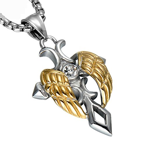Stainless Gold Pendant with Necklace Cross Design Printed Stone - 1