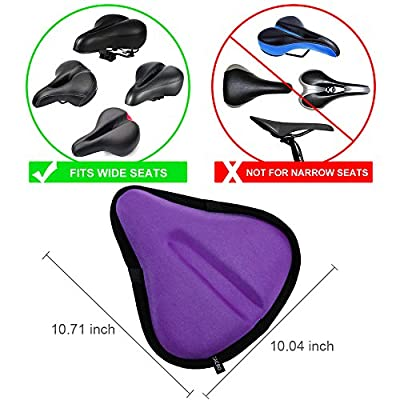 Zacro Colorful Exercise Bike Seat Cover, Big Size Wide Gel Bicycle Cushion for Bike Saddle, Comfortable Bike Seat Cover Fits Cruiser and Stationary Bikes, Indoor Cycling, Spinning With Waterpoof Cover from Zacro
