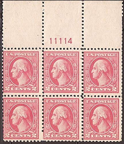 US Stamp - 1920 2c Washington - Type V Plate Block of 6 Stamps ()