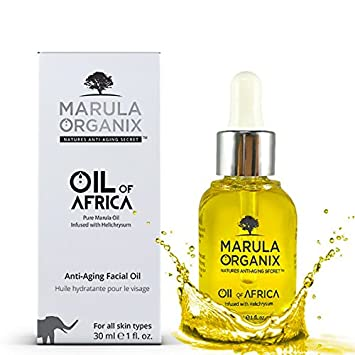 Marula Organix Cold Pressed Marula Oil – Infused with Helichrysum Oil – Powerful Antioxidant Serum, Noncomedogenic Facial Moisturizer, Effective Anti Aging Serum and Replacement For Your Anti Aging Cream. Natural Dark Spot Corrector