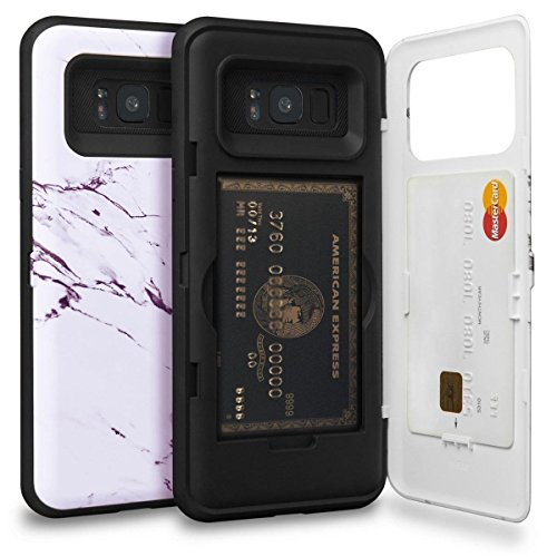 TORU CX PRO Galaxy S8 Plus Wallet Case Pattern with Hidden ID Slot Credit Card Holder Hard Cover, Mirror & USB Adapter for Samsung Galaxy S8 Plus - Marble Stone