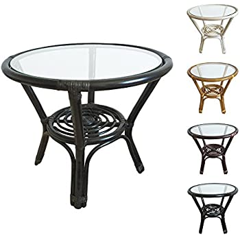 Round Small Coffee Table Diana Color Black With Glass Top Handmade Eco Friendly Materials Rattan Wicker Home Furniture