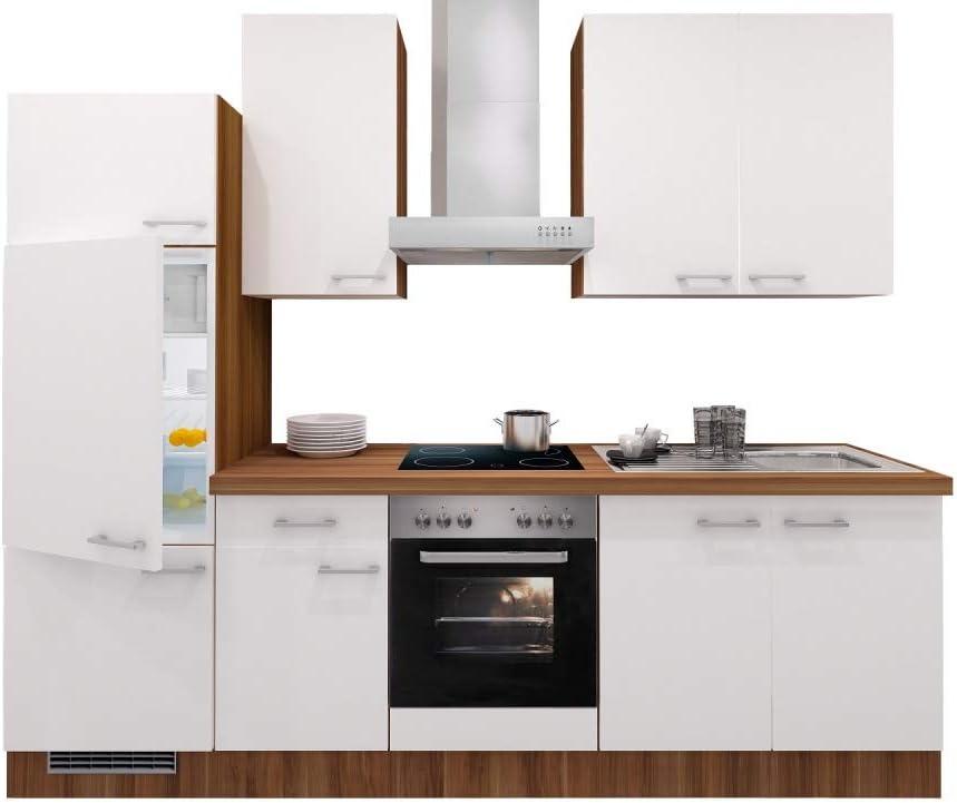 Smart Möbel - Bloque de Cocina (270 cm, nácar Brillante, Nogal, con Fregadero, frigorífico y Fregadero): Amazon.es: Juguetes y juegos