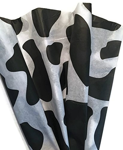 Cow Print Patterned Tissue Paper for Gift Wrapping, 24 Sheets of Decorative Tissue Paper 20x30 by Rustic Pearl Collection
