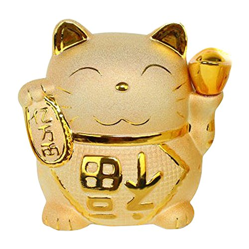 (Golden Ceramic Maneki Neko Charm Collectible Figurine Coin Bank Size 7