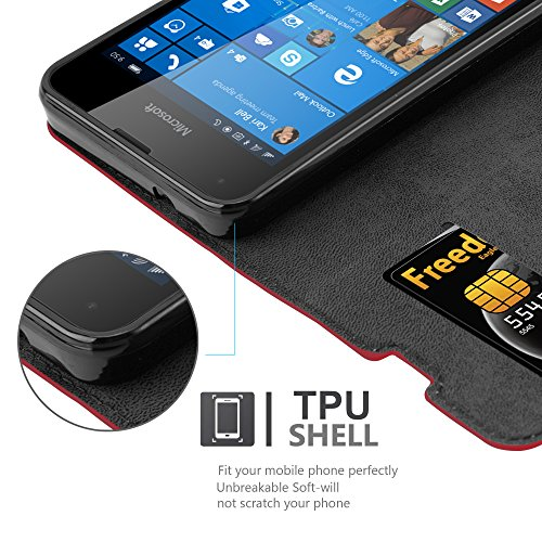 Cadorabo Case works with Nokia Lumia 550 Book Case in APPLE RED (Design INVISIBLE CLOSURE) – with Magnetic Closure, Stand Function and Card Slot – Wallet Case Etui Cover PU Leather by Cadorabo (Image #3)