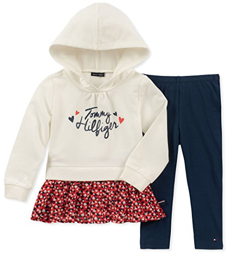 - Tommy Hilfiger Baby Girls 2 Pieces Tunic Pants Set, Vanilla/Print/Navy, 12M