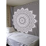 Grey Tapestry Mandala Wall Hanging Gray Tapestry Queen Hippie Home Decor Tapestries Festival Boho Tapestry 90x85 Inches Indian Dorm Decor Room Tapestry Curtains for Bedroom Blanket by Darjii