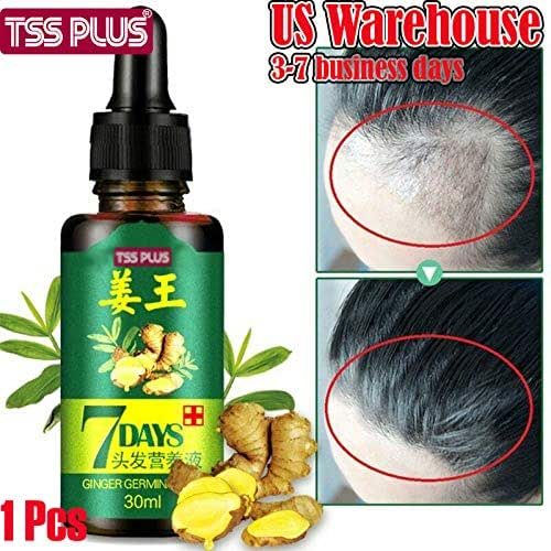 TSSPLUS Hair Regrow 7 Day,Ginger Essential Oil,Ginger Germinal Serum Essence Oil Loss Treatement Growth (30ML)