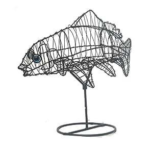 Jardín Figura pez carpa en soporte alambre estructura Estanque decorativa 40cm de alto