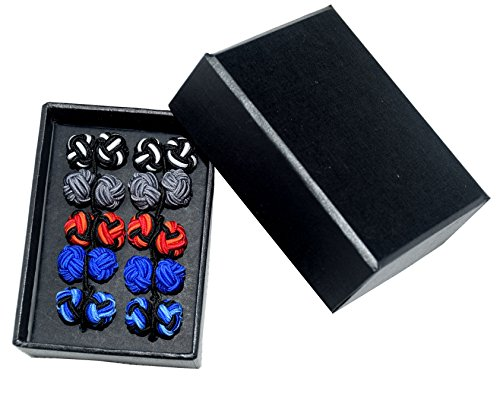 Double Knot Cufflinks - Silk Knot Cufflink Classic Double Rope Ball Shape for Men 5 Pairs With Box