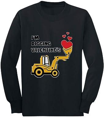 ecb58d77 I'm Digging Valentine's Gift Tractor Loving Boy Toddler/Kids Long Sleeve T-