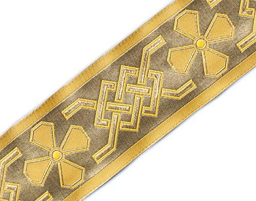 Wide Jacquard Vestment Trim. Celtic. Gold on Gold, Black 3¾