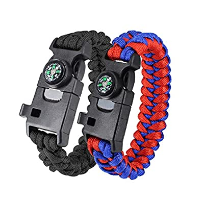 RonLin Paracord Bracelet, 2 Pcs Survival Bracelet Kit with Compass, Whistle, Flint Fire Starter, Knife and Fishing Tools. Outdoor Emergency Travelling Gear Kit for Men & Women and Youth by Ronlin
