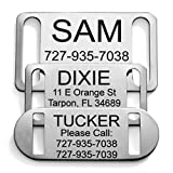 Providence Engraving Slide-On Pet ID Tag | Collar Tag | 3 Sizes & 9 Colors to Choose from (Small, Stainless Steel)