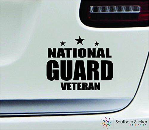 - National guard veteran 5.4x4.4 black soldier military war veteran america united states color sticker state decal vinyl - Made and Shipped in USA
