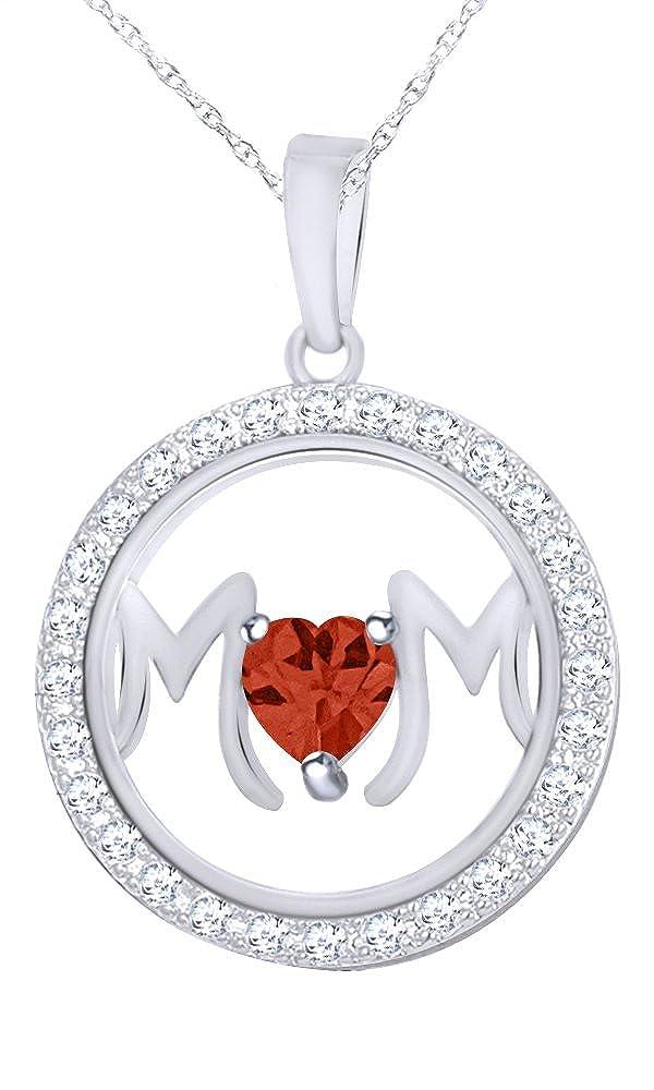 Wishrocks 14K Gold Over Sterling Silver Mom Circle Pendant Necklace
