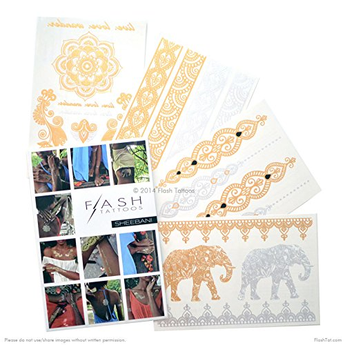 Flash Tattoos Sheebani Authentic Metallic Temporary Jewelry Tattoos 4 Sheet Pack (Black/gold/silver) Includes over 19 assorted premium henna inspired waterproof tattoos