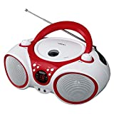 Jensen CD Boombox CD-490 White/Red Portable Stereo Boombox + CD-R/RW Player with AM/FM Radio and Aux Line-In (Limited Edition Color)