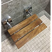 DIYHD Modern Teak Wood Folding Shower Seat Wall Mounted Wood Shower Seat