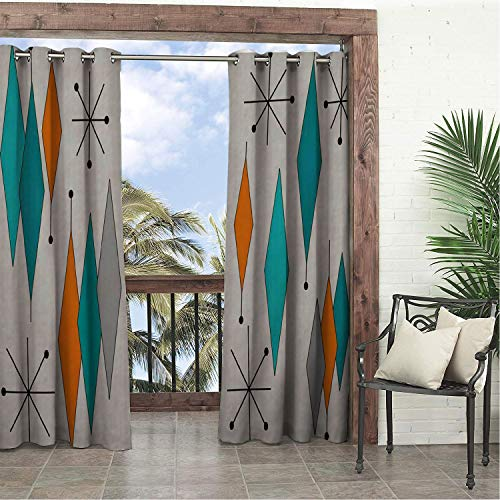 Linhomedecor Garden Waterproof Curtains Retro Geometry Prismatic 9 doorways Grommet Panel Curtain 96 by 72 inch
