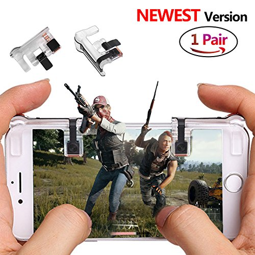 Transparent Game Controller (PUBG Mobile Game Controller Sensitive Shoot and Aim Keys L1R1 Trigger Buttons for PUBG/Knives Out/Rules of Survival, Support Both Android and IOS System (1 Pair))