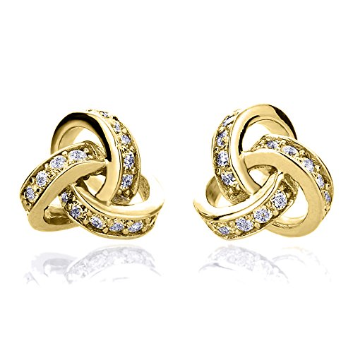 Sterling Silver 14K Rose Gold or Yellow Gold Plated or Rhodium Plated CZ Celtic Love Knot Stud Earrings ()