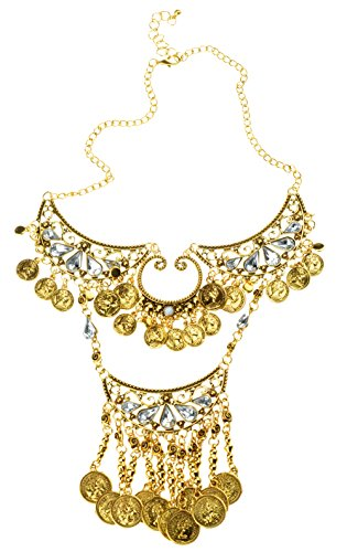 [HONEYJOY Women Vintage Gold Alloy Coin Tasse Crystal Necklace] (Belly Dance Costumes Custom)