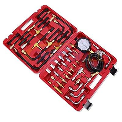 BETOOLL Pro Fuel Injection Pressure Tester Kit Gauge 0-140 PSI: Automotive