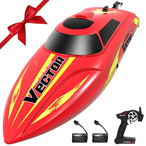 VOLANTEXRC Vector30 Remote Control Boat for Pools and Lakes, High Speed Electric RC Boat for Kids or Adults, with Self-righting, Reverse Function for Boys or Girls (795-3 Red) (Speed Boat Racers)