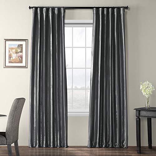 (Half Price Drapes PTCH-BO005-108 Blackout Faux Silk Taffeta Curtain, Graphite)