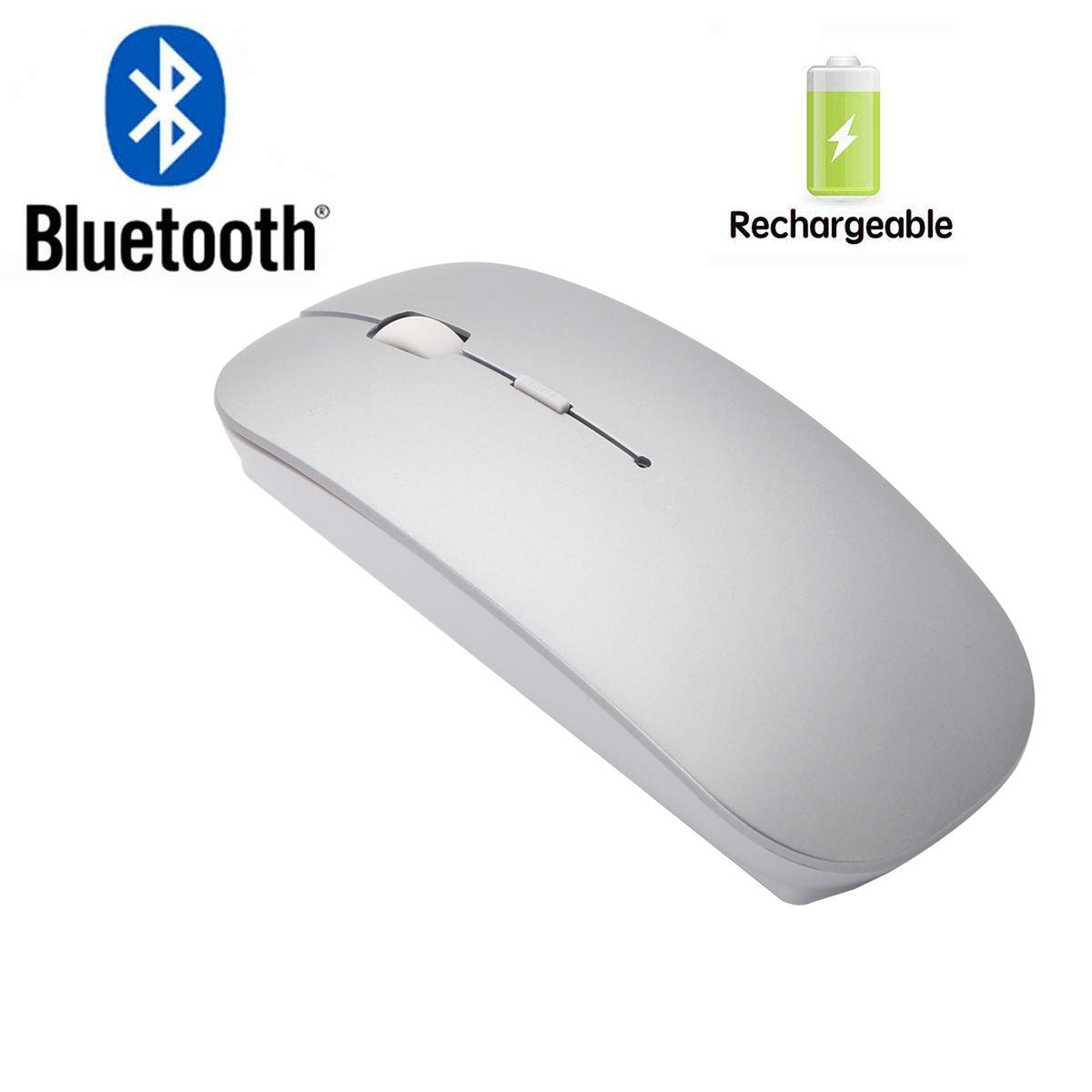 16123ecfaee Amazon.com: Bianco Slim Rechargeable Bluetooth Wireless Mouse for PC  Computer Notebook Computer Android Tablet Vomputer Intelligent Equipment  (Silver): ...