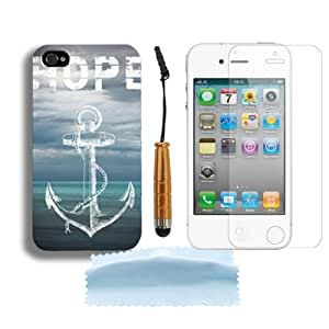 New Fashion Colorful Hybrid Hard Rigid Shell Plastic Back Case Cover Skin For Apple iPhone 4 4G 4S + Free Screen Protector&Touch Pen Stylus